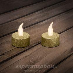 LED-es teamécses AJÁNDÉK ELEMMEL arany 2 db / bliszter