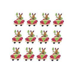 Szarvas autóban fa 4,5x4cm zöld,piros,fehér S/12
